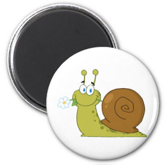 Snail With A Flower In Its Mouth 6 Cm Round Magnet