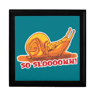 snail with text cartoon style large square gift box