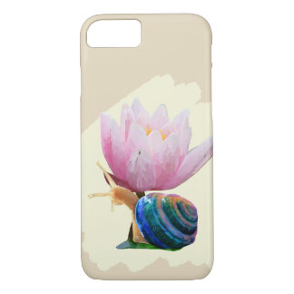 Snail with Water Lily Flower (Customize color!) iPhone 8/7 Case