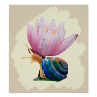 Snail with Water Lily Flower (Customize color!) Poster