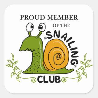 Snailing Club Proud Member Square Sticker