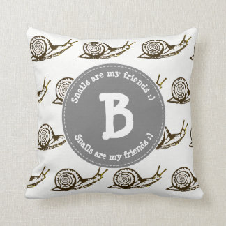 Snails are my Friends Monogram Cushion