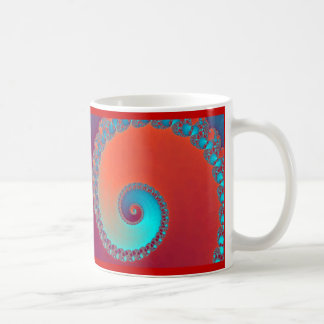 Snails fractal, red and turquoise coffee mug