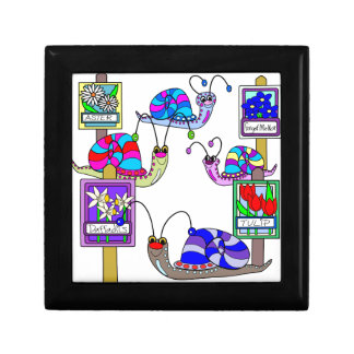 Snails in the garden small square gift box
