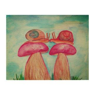 Snails on mushroom kiss Wood Wall Art