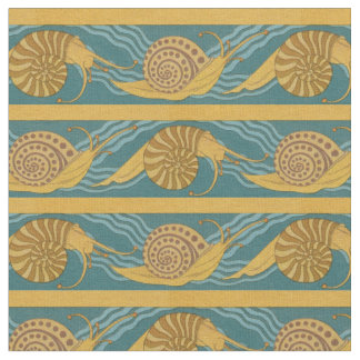 Snails Pattern Print Snail Blue Yellow Teal Gold Fabric