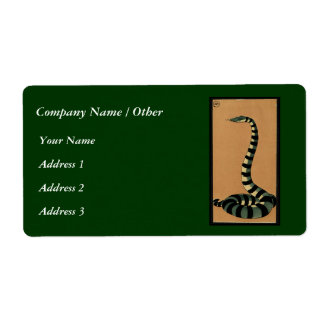 Snake - Antiquarian, Colorful Book Illustration Shipping Label