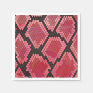 Snake Black and Red Print Disposable Napkins