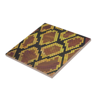 Snake Brown and Gold Print Small Square Tile