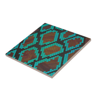 Snake Brown and Teal Print Small Square Tile