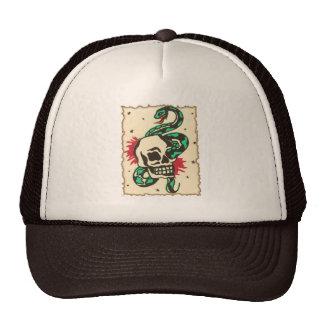 snake in the eye of the skull trucker hat