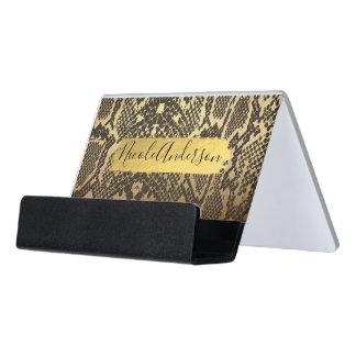 Snake Skin Animal Print Gold Modern Chic Foil Desk Business Card Holder