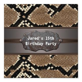 Snake Skin Birthday Party 13 Cm X 13 Cm Square Invitation Card