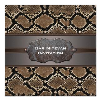 Snake Skin Brown and Black Rustic Bar Mitzvah Card