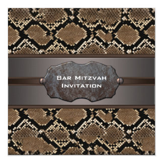 Snake Skin Brown and Black Rustic Bar Mitzvah 13 Cm X 13 Cm Square Invitation Card