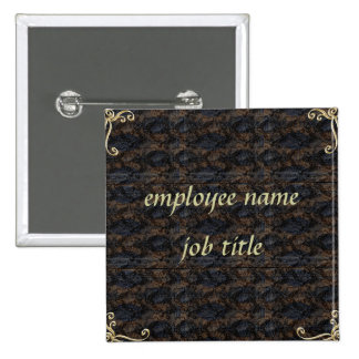 Snake Skin Employee Name Tag Button