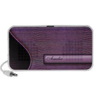 snake skin personalised purple mini speakers