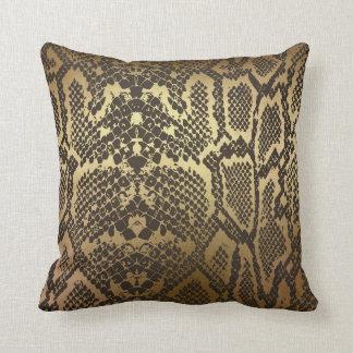 Snake Skin Print Modern Glam Gold Cushion