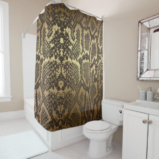 Snake Skin Print Modern Glam Gold Shower Curtain