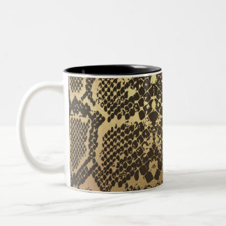 Snake Skin Print Modern Glam Gold Two-Tone Coffee Mug