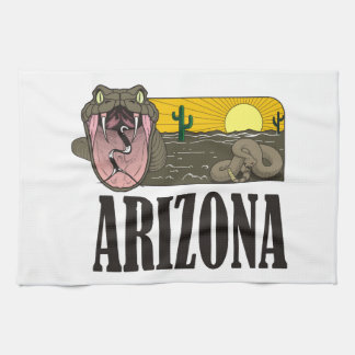 Snake State of Arizona USA: Rattlesnake and desert Tea Towel