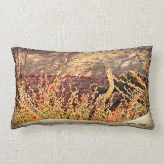 Snake Sticks in Red Blooms Lumbar Throw Pillow
