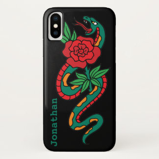 Snake Wrapped Around a Red Rose, Tattoo Art iPhone X Case