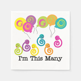 Snakes I'm This Many 6th Birthday Paper Napkins Disposable Napkin