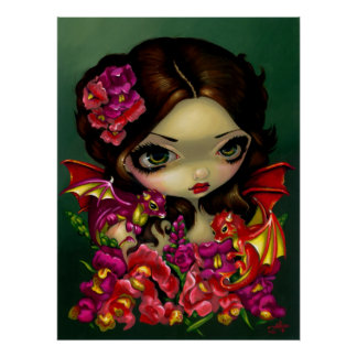 Snapdragon Fairy ART PRINT fantasy dragon flowers