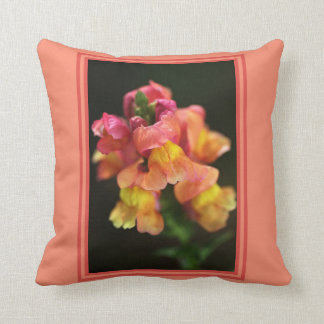 Snapdragon Flowers Pillow by bubbleblue Cushion