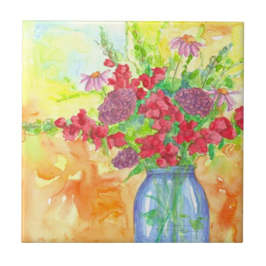 Snapdragons Zinnias Watercolor Flower Bouquet Small Square Tile
