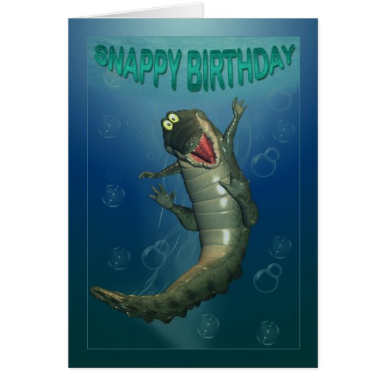 Snappy Birthday Happy Crocodile Underwater View Card