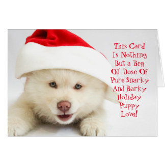 Snarky and Barky Fuzzy Puppy Christmas Card