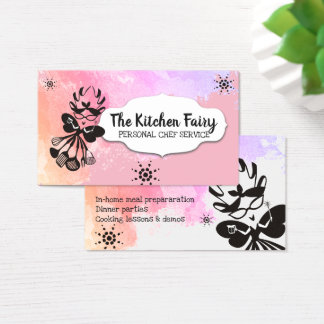 Snarky kitchen fairy chef catering business card
