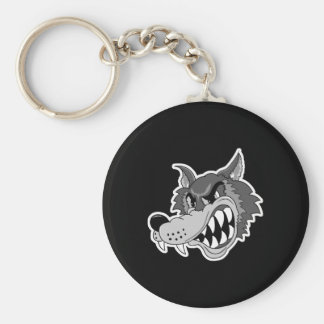 snarling grey wolf face key chain