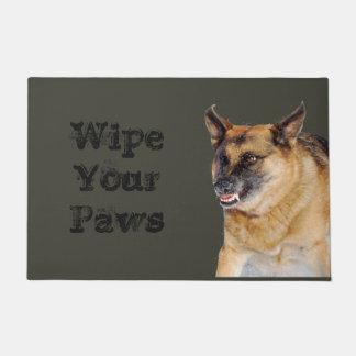 Snarling Growling German Shepherd Humorous Doormat
