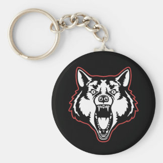 Snarling Wolf Basic Round Button Key Ring