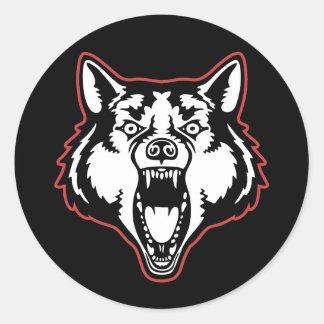 Snarling Wolf Round Sticker