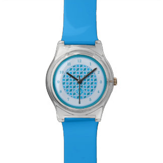 Snazzy Aqua Blue Diamond Pattern Custom Monogram Watch