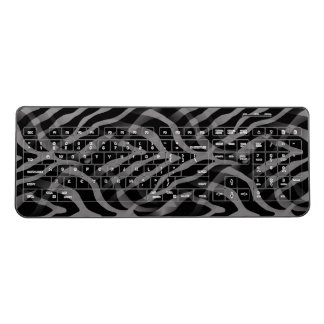 Snazzy Neutral Gray Zebra Stripes Print Wireless Keyboard