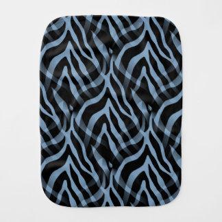 Snazzy Sky Blue Zebra Stripes Print Burp Cloths