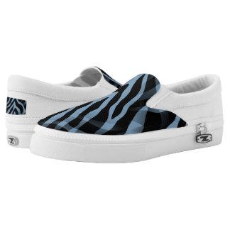 Snazzy Sky Blue Zebra Stripes Print Printed Shoes