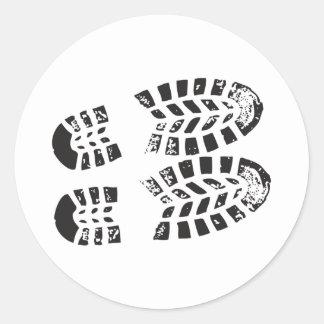 Sneakers Black & White Imprint Round Sticker