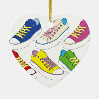 Sneakers drawing, colorful running shoes ceramic heart decoration