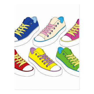 Sneakers drawing, colorful running shoes postcard