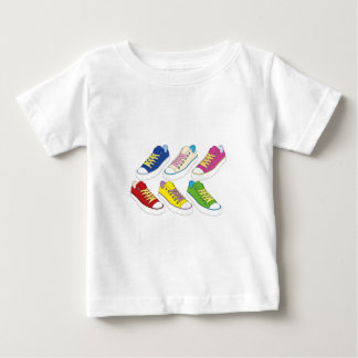 Sneakers drawing, colorful running shoes tee shirts