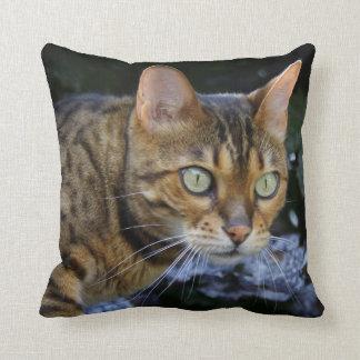 Sneaking Bengal Cat Throw Pillow