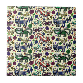 SNEAKY CATS LARGE POSTER 2.jpg Small Square Tile