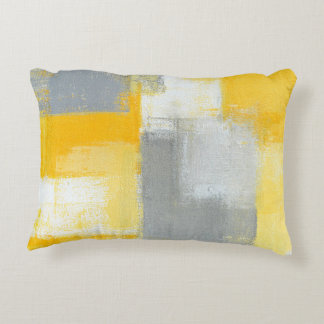'Sneaky' Grey and Yellow Abstract Art Decorative Cushion
