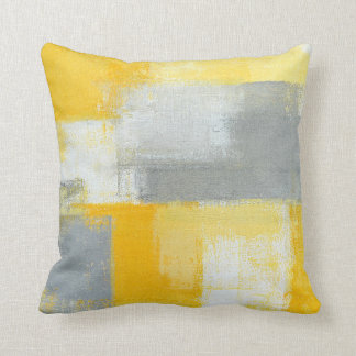 'Sneaky' Grey and Yellow Abstract Art Pillow Cushions